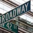 broadway 42nd street sign — Stock Photo