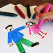 Drawing shows young girls inner feelings about being abused — Stock Photo