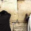 Jewish Men Pray Wailing Wall - Stock Photo