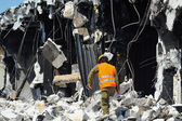 Search and Rescue Through Building Rubble after a Disaster — Stock Photo