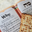 Traditional Jewish Matzo sheet on a Passover Seder table — Stock Photo