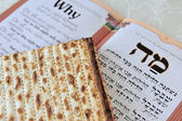 Matza with Haggadah for Jewish Holiday Passover — Stock Photo