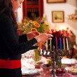 Celebrating Hanukkah — Stockfoto