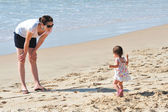 Baby Mother on Beach — Stock Photo