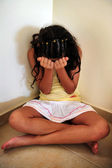 Young Girl Suffers from Domestic Violence — Stock Photo