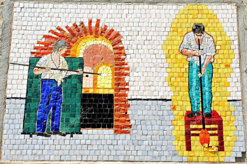 Mosaic of Italian glassblowing and glass making transition in Murano island in the Venetian Lagoon, northern Italy.  Foto Stock #11206472