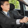 Stock Photo: Chinese businessman driving car