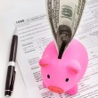 Piggy bank and tax forms — Stock Photo #10743473