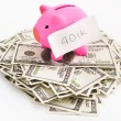 Stock Photo: Piggy bank 401K and dollar