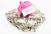 Piggy bank 401K and dollar — Stock Photo