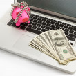 Chanined piggy bank and dollar on laptop — Stock Photo