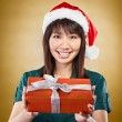 Girl with santa hat and gift — Stock Photo