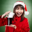 Christmas girl with cup of drink — Stock Photo
