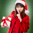 Christmas girl with present — Stock Photo