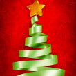 Green ribbon Christmas tree — Stock Photo