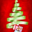 Green ribbon Christmas tree — Stock Photo #10759884