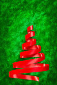 Red ribbon Christmas tree — Photo