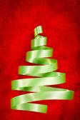 Green ribbon Christmas tree — Stock Photo