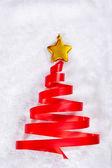Red ribbon Christmas tree — Stock Photo
