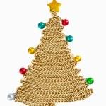 Golden chain Christmas tree on white — Stock Photo