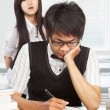 Diligent and bad students — Stock Photo