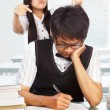Diligent and bad students - Stock Photo