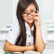 Beautiful female student looking to camera — Foto Stock