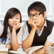 Stock Photo: Two stressful students