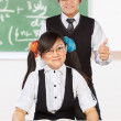 Tutoring nerd student - Stock Photo
