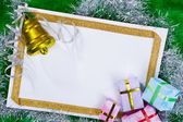 Blank paper and Christmas presents — Stock Photo