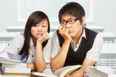 Two stressful students — Stock Photo