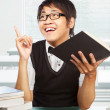 Chinese college male student inspired - Stock Photo
