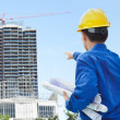 Male contractor and bulding project — Stock Photo