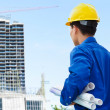 Stock Photo: Male contractor and bulding project
