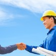 Deal on construction plan — Stock Photo