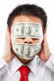 Bribe concept, eyes and mouth sealed with dollar bill — Stock Photo