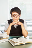 Chinese college male student studying — Stock Photo