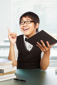 Chinese college male student inspired — Stock Photo