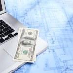 Laptop, money and blueprint — Stock Photo