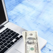 Stock Photo: Laptop, money and blueprint