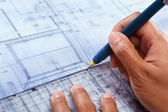 Architect working on house deisgn — Stock Photo