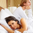 Conflict between couple in bedroom - Foto de Stock