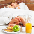 Intimate couple and breakfast — Stock Photo