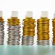 Three blank block over coins stacks — Stock Photo