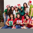 Christmas group shot of Asian — Stock Photo