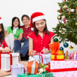 Kids and Christmas present — Stock Photo