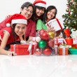 Family pose on Christmas — Stock Photo