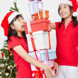 Kids and Christmas present — Stock Photo #10992223