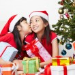 Stock Photo: Sibling showing love in Christmas season