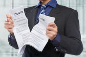 Tearing the contracts — Stock Photo
